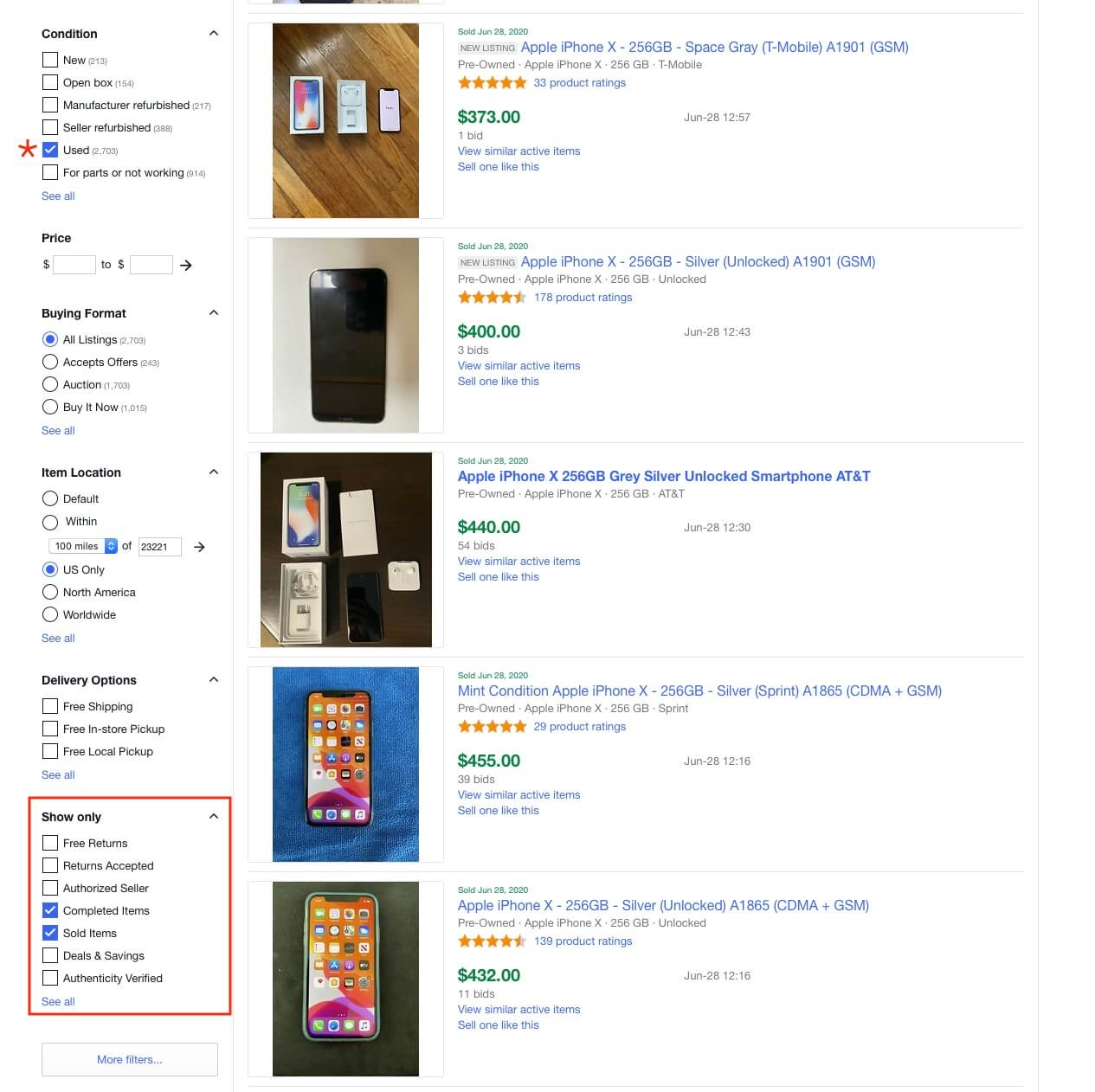 The eBay selected filters on the left side let you see completed and more specifically successfully sold listings for your search term - you can even add additional filters like condition and location.