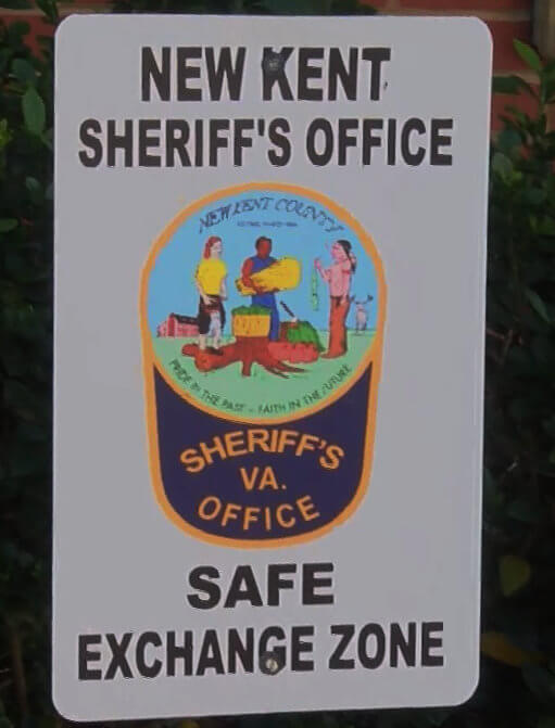 An example of a safe exchange zone label here in Virginia.