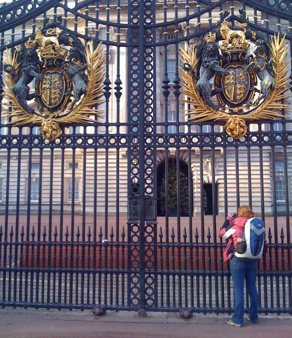 Playing the tourist outside of Buckingham Palace with a Deuter bag we still have! Buy it for life!