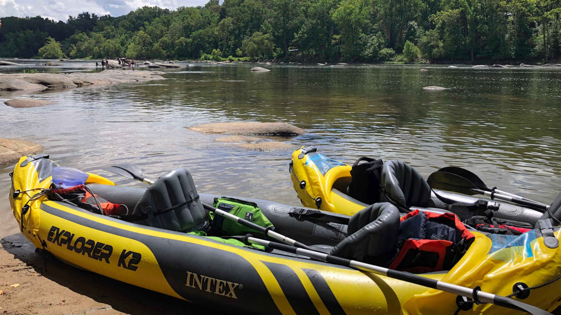 Staycation fun: dual inflatable kayaking down a river in an Intex Explorer K2! It's almost like an inner tube you can paddle!