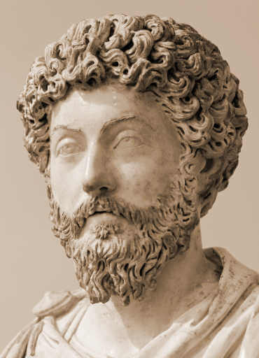 Marcus Aurelius bust, quote on acceptance.