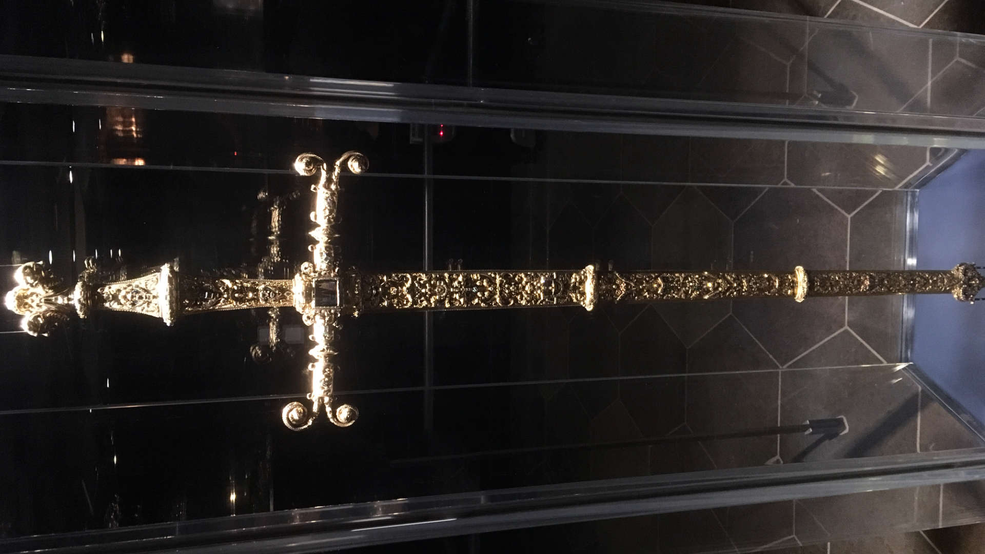 "Not the actual Sword of Damocles: just part of Denmark's ""Crown Jewels"" in Rosenborg Castle. Still, I wouldn't want it ""hanging by a thread"" over my head!"