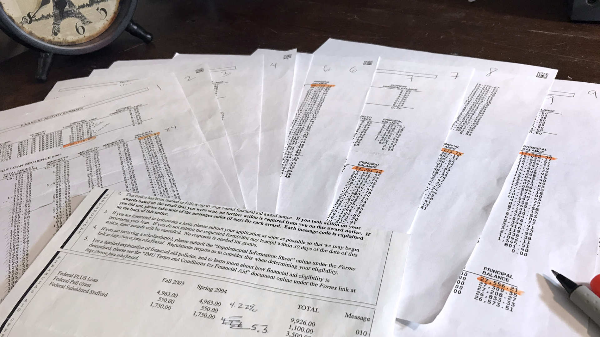 The documents that prove my experience with the true cost of college.
