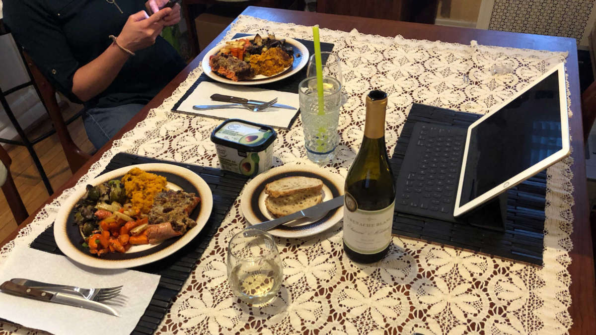 Our remote family Thanksgiving 2020 meal. iPad ready for FaceTime!