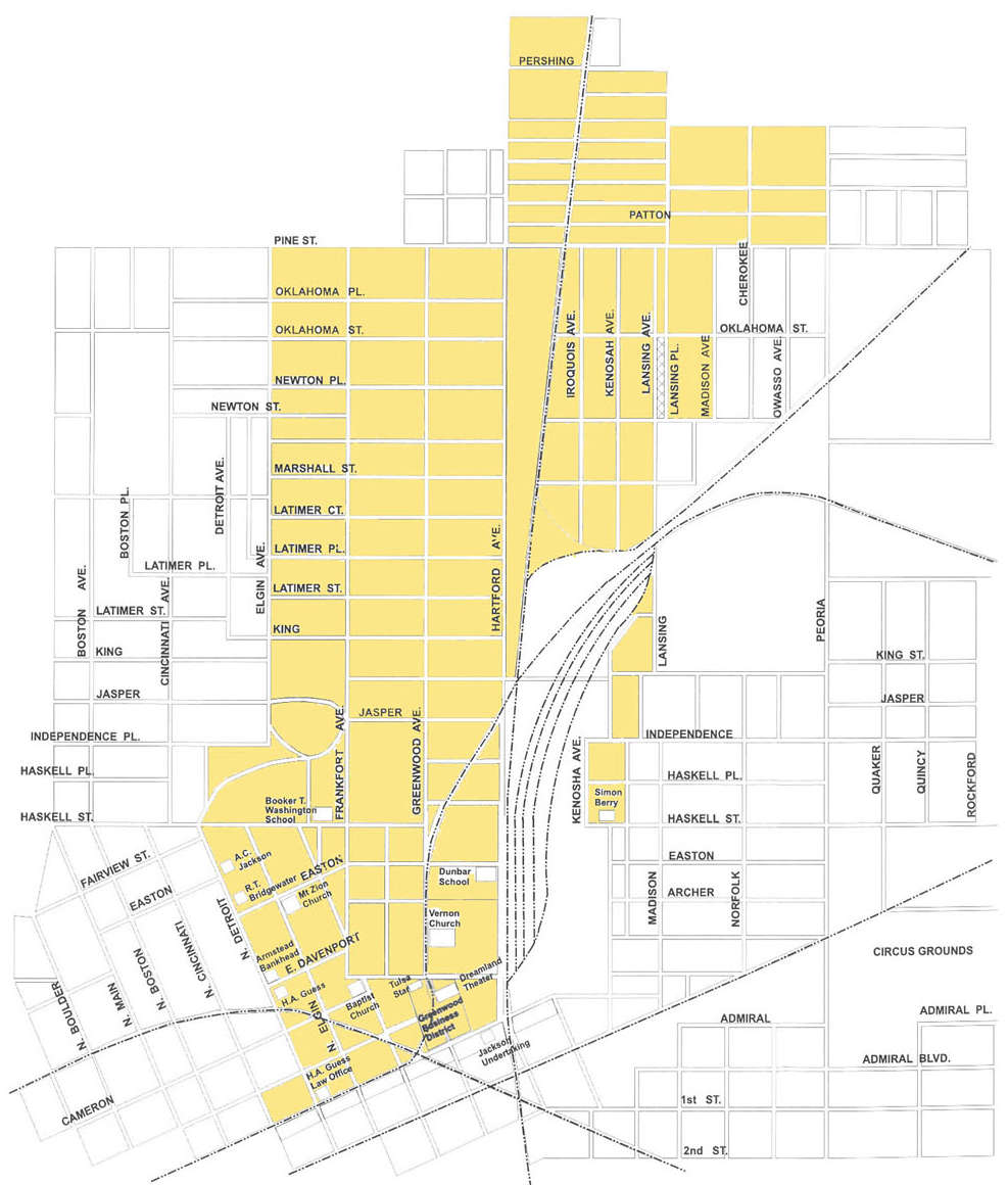 The yellow section represents historic Greenwood. You can spot the southern terminus at the railroad tracks where O.W. Gurley started his first rooming house. [Source: National Park Service]