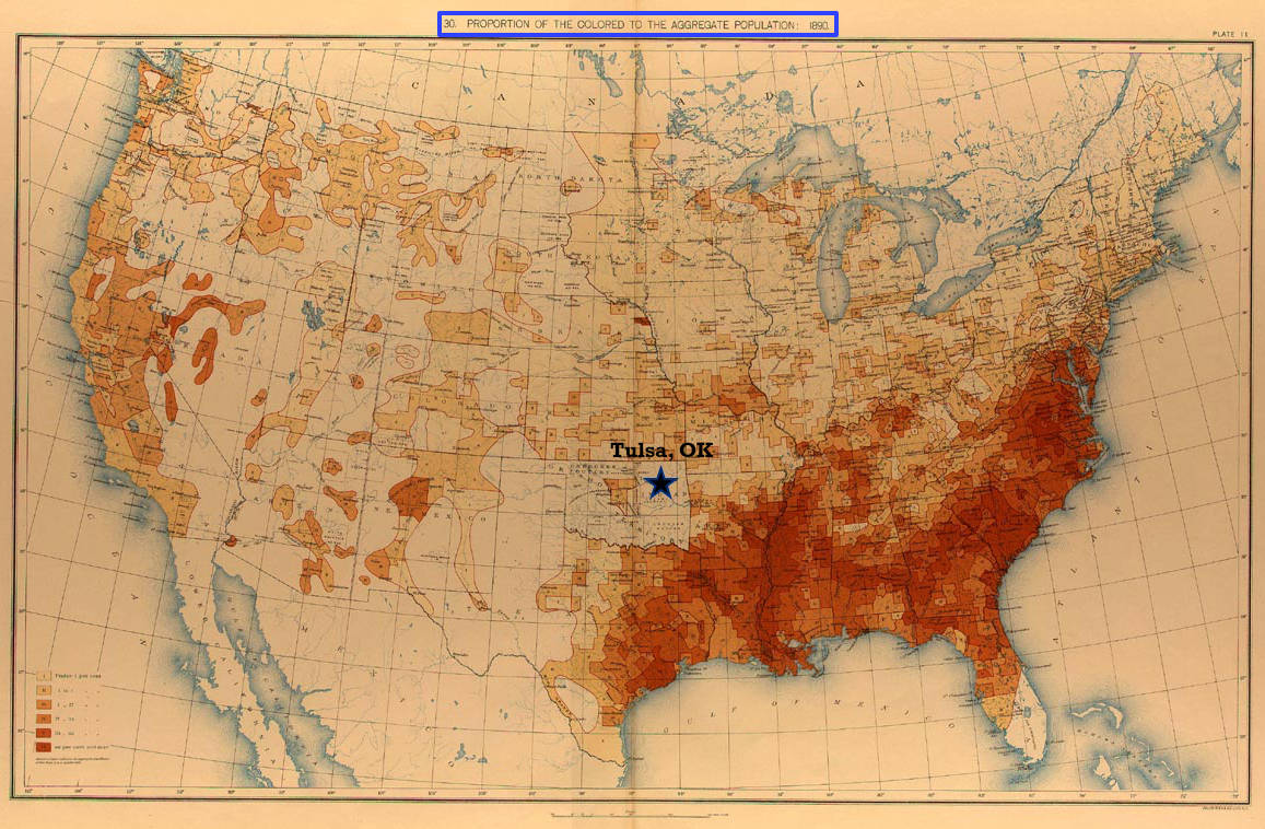"1890 ""Proportion of the colored to the aggregate population"" data map—highlighting Tulsa, OK [Source: US Census]."