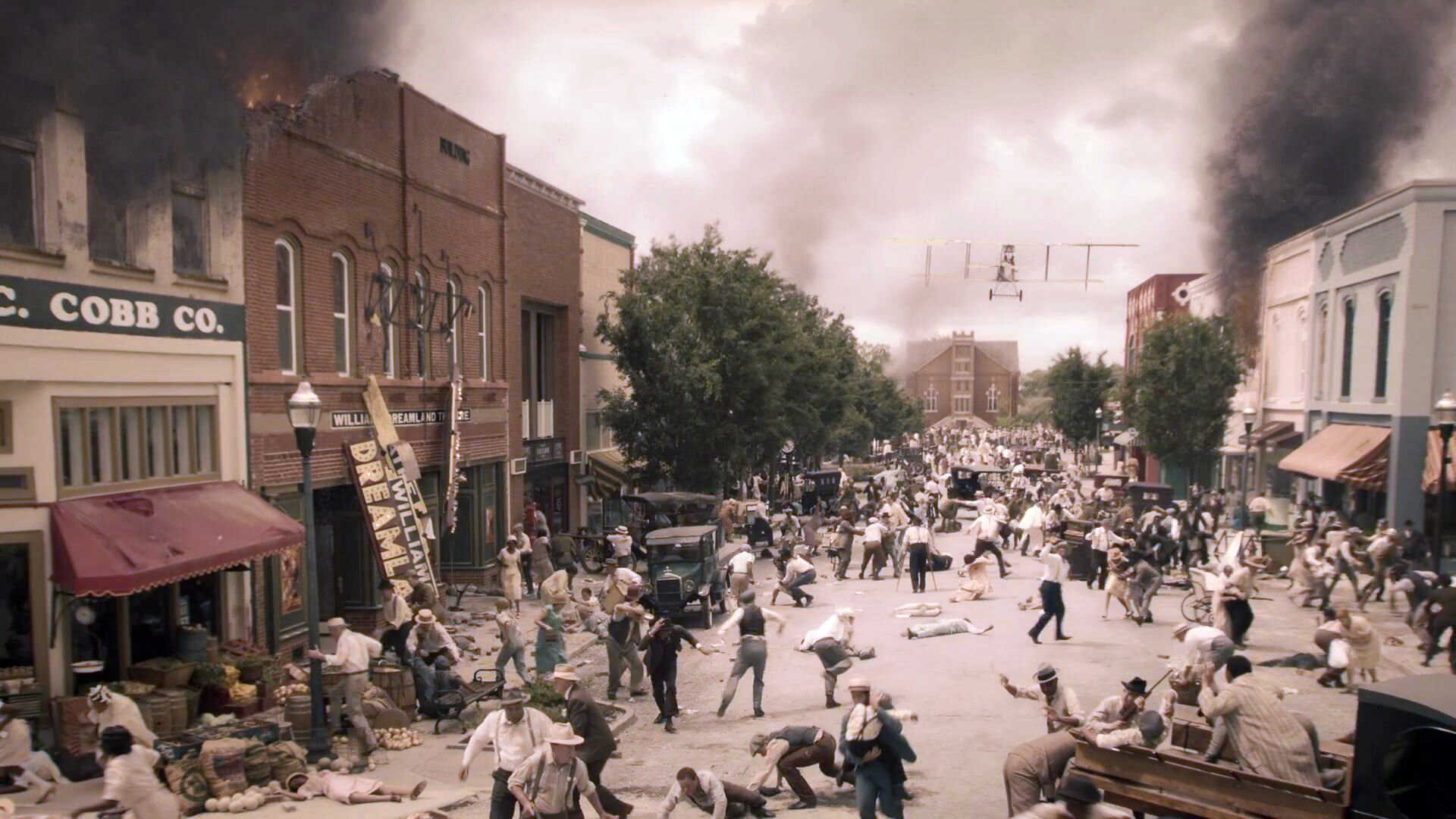 "Watchmen premiere: ""It's Summer and We're Running Out of Ice"". The episode depicts the massacre on Black Wall Street in Tulsa, 1921. [Dramatization—fictional image, source: Watchmen]"