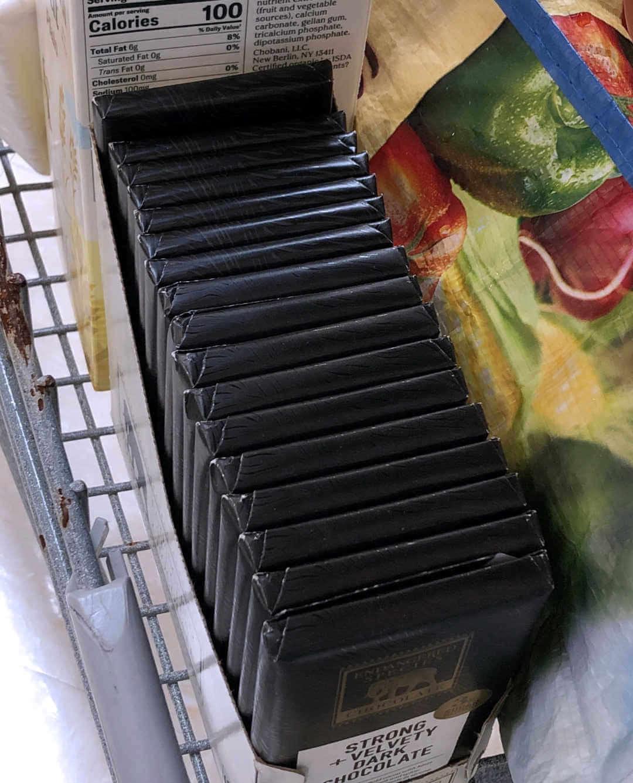 stack of dark chocolate bars