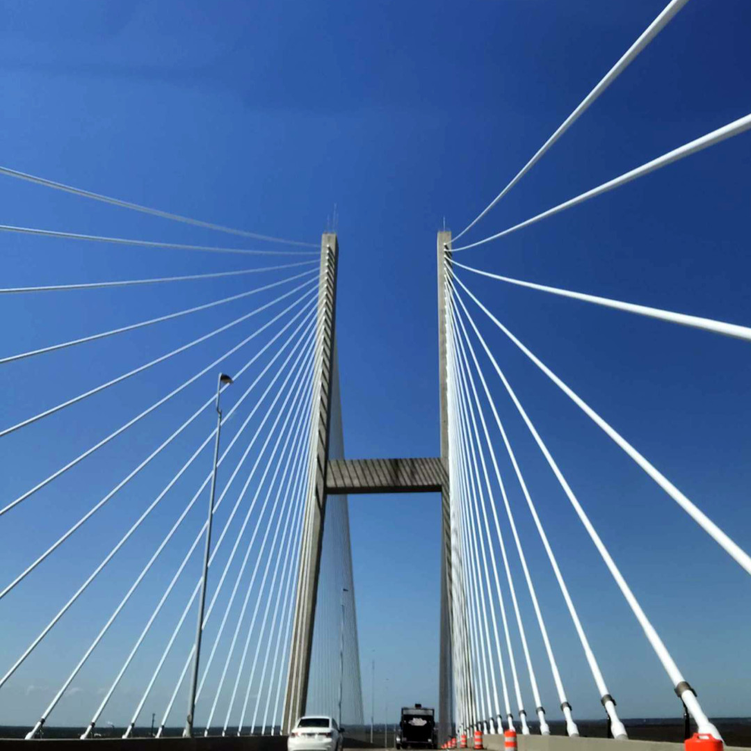 Driving over a suspension bridge to one of our destinations