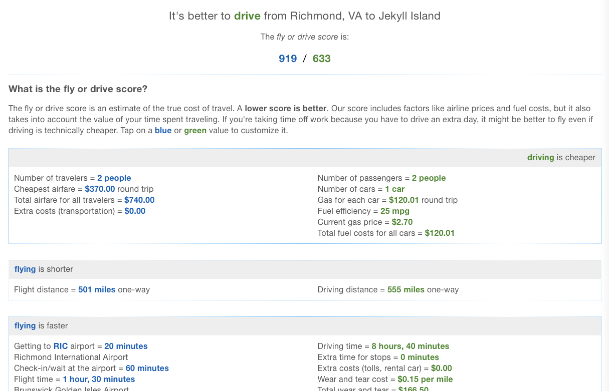 An example calculation of our fly vs drive decision based on customizable factors like airport locations, wear and tear cost for the vehicle, flight prices, and more!