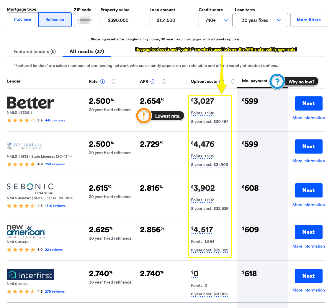 """I've added a variety of notes around the quotes that Bankrate offers for refinancing in the screenshot. Be sure to click """"All results"""" to get more than just their preferred (*hem* sponsored) lenders."""