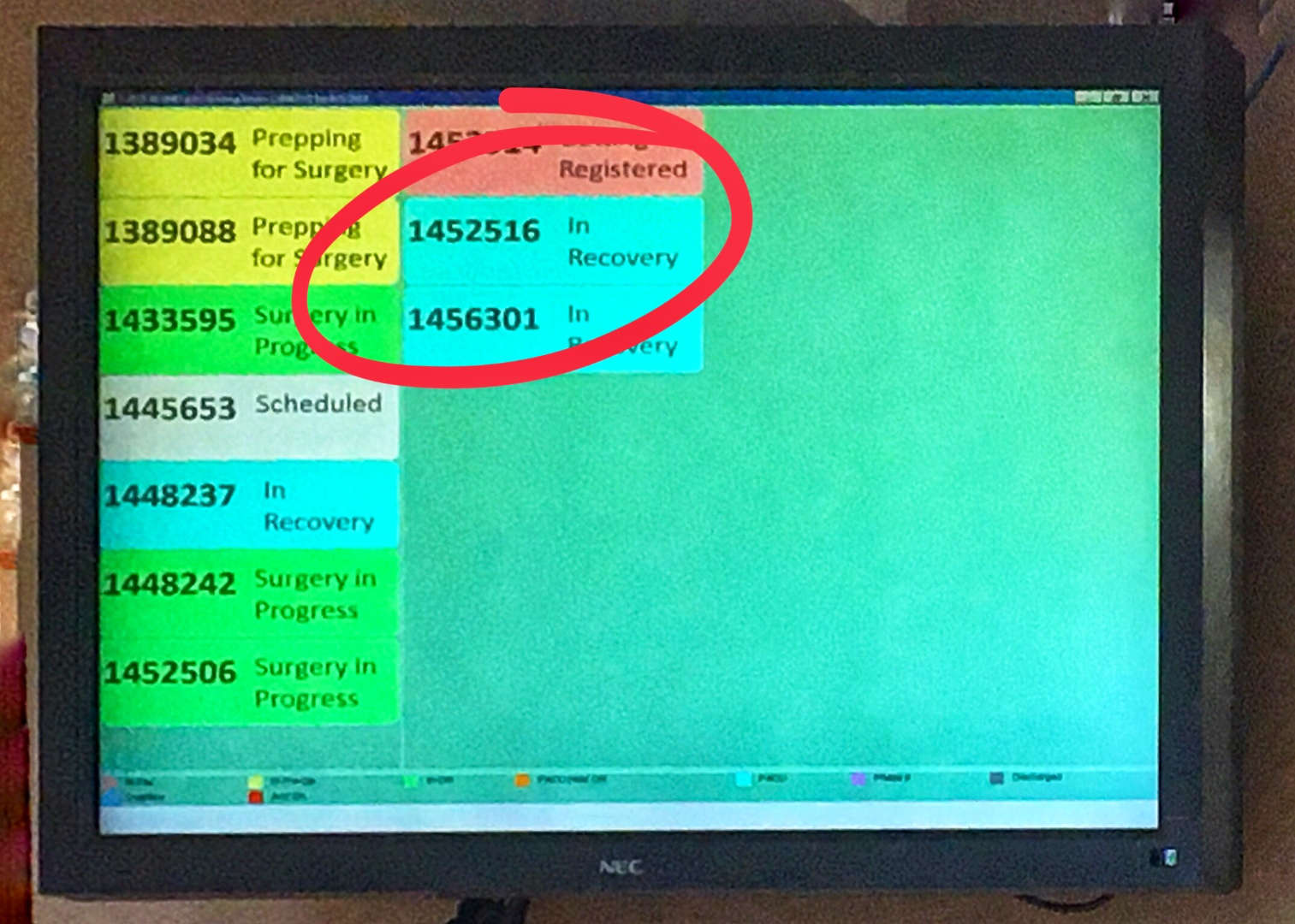 """The moment of relief when the waiting room monitor shows your patient, #1452516, """"in recovery""""."""