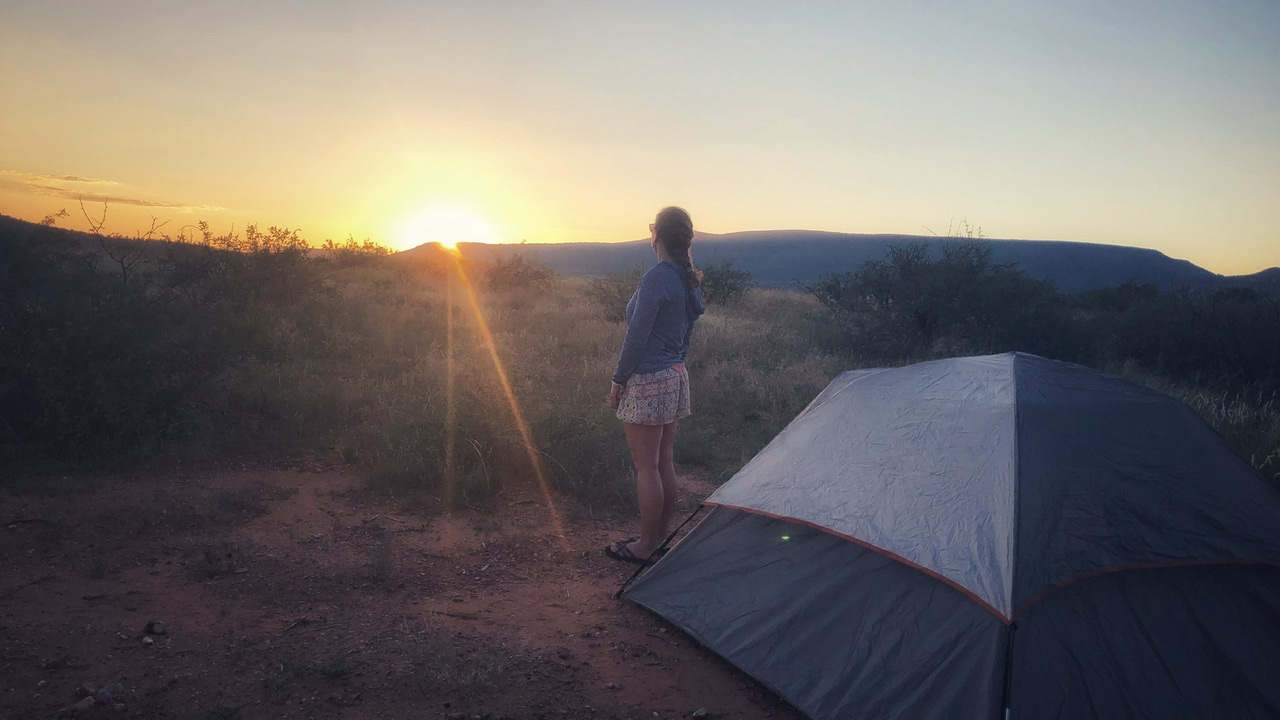 Catching the sunset over Sedona before we settle into our tent for the night.