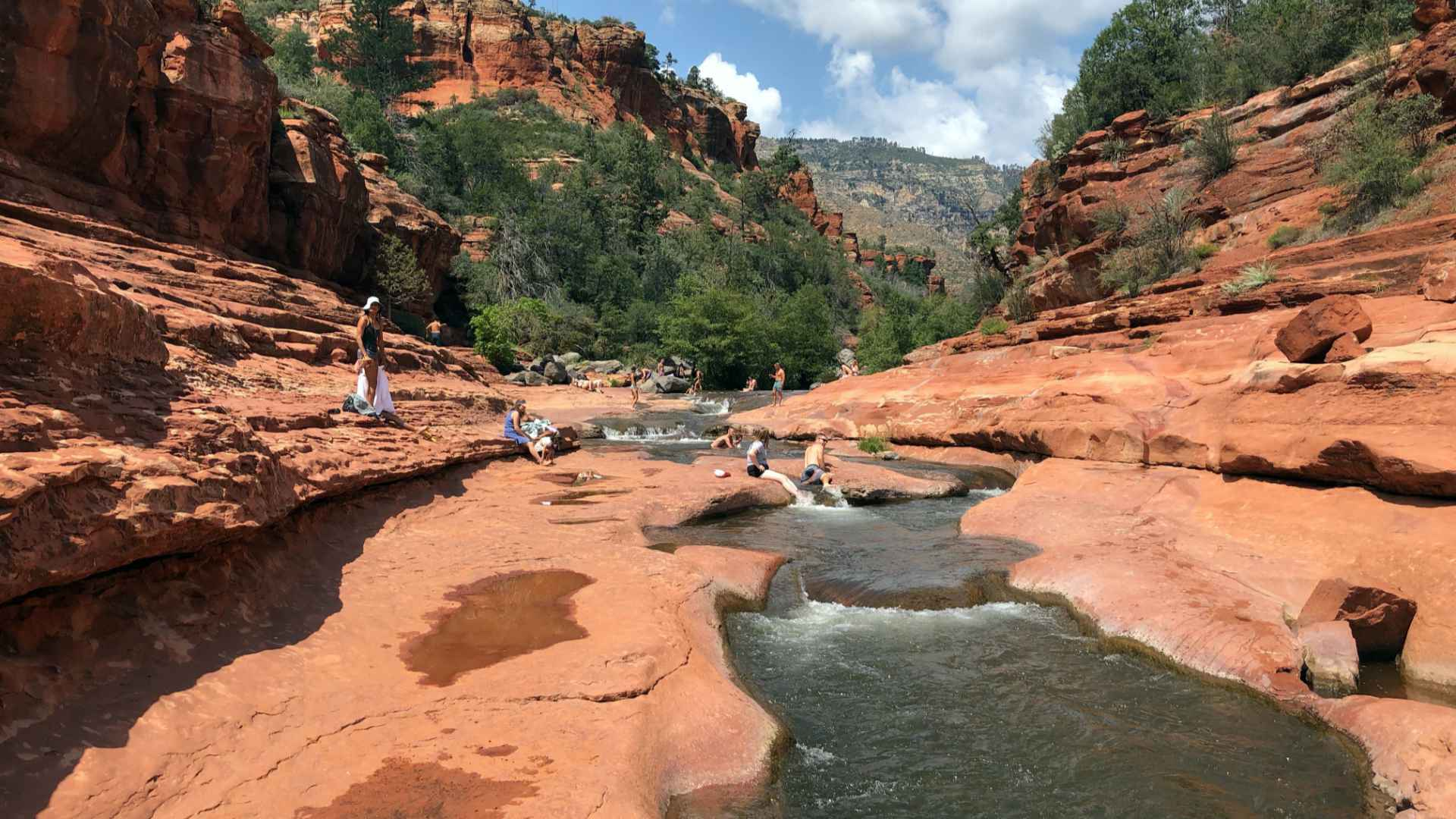 An algae on these rocks at Slide Rock State Park creates a natural water slide! What a great way to recover after hiking.